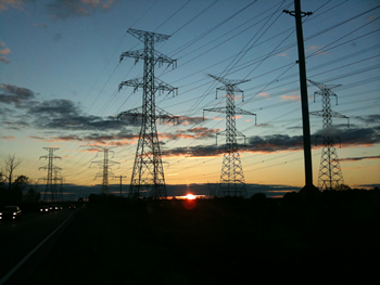 Transmission lines along Highway 7, in Brooklin, Ontario